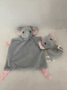 Dandee Security Baby Lovey Blanket Gray Elephant Rattle Knotted &  Wrist Rattle