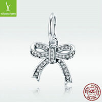 925 Sterling Silver Charm Bead Bow-knot Pendant With CZ For Sweet Women Bracelet