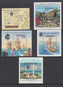 Bahamas Sc 644/753 MNH. 1988-1992 Discovery of America Souvenir Sheets, 5 diff