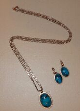 Pretty Sterling Silver & Turquoise Necklace / Pendant and Matching Earrings