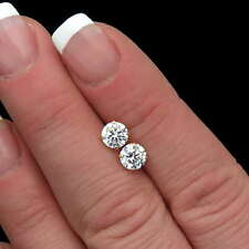 2.5CT Round Created Diamond Stud Earrings Real 14K Yellow Gold  Basket Screwback