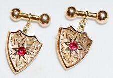 Antique Australian 9Kt Gold Shield Shape Ruby Spinel Cufflinks Wt 5.7 Grams