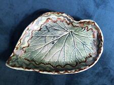 Handmade Studio Art Pottery Leaf Dish. Light Blue Green and Brown. Artist Signed