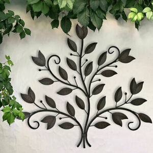 Design Außen Wand Deko Bild Kunst Terrassen Hof Behang schwarz Blätter Laub Baum