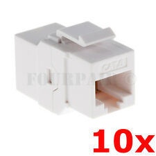 10 Pack - CAT6 Inline Coupler Keystone RJ45 Female Snap-In Jack Insert - White