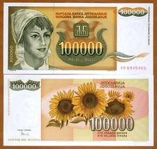 Yugoslavia, 100000 (100,000) Dinara 1993, Pick 118 UNC > Young Woman, Sunflowers