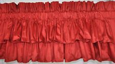 "NEW Double Tiered Valance made w Solid Dark Red Dupioni Silk Fabric 100"" x 19"""