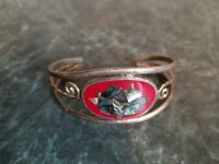 Beautiful Vintage Mexico Alpaca Silver Abalone Flower Inlay Cuff Red