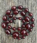 Vintage Art Deco Cherry Amber - Red Bakelite - Plastic - Bead Necklace Wgt 31g