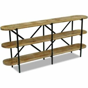 vidaXL Mango Wood Sideboard Display Shelf Rack Steel Frame Handmade Industrial