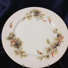 "KYOTO JAPAN PINES DINNER PLATE 10 1/8"" PINE CONES & NEEDLES AUTUMN LEAVES"
