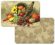 Autumn Cornucopia Pumpkins Sunflower Decofoam Reversible Placemat Set ~ Set/4