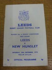 28/09/1974 programma Rugby League: Leeds V NUOVO Nomadi [John Player Trophy] (FOL