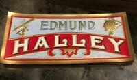 EDMUND HALLEY LOT OF 12** Gold Foil Embossed Cigar Side Labels Astronomer Comet