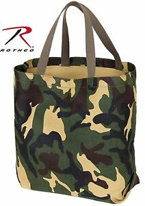 """Woodland Camouflage Tote Bag - Rothco 18"""" Cotton Canvas Camo Tote Bags 2422"""