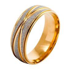 Edelstahl Ring Golden Silber Gestreift Wedding Eheringe  65 x 20.7mm Herren R4F2