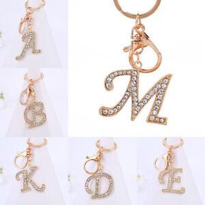Rhinestone Alphabet Initial Letter A-Z Keychain Key Ring Bag Charm Pendant Cute
