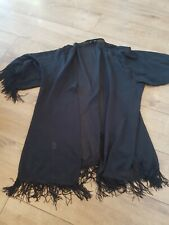 Black Sheer Fringed Kimono Size Medium