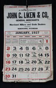 Vtg 1927 Calendar Sebewaing Michigan John C Liken General Store Wall 11x19 Full