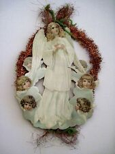 Vintage Victorian Antique Christmas Die-Cut Scrap Ornament w/ Sweet Angels *
