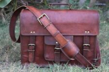 Vintage goat Leather Tote Mens Briefcase 15'' Laptop Case Messenger Shoulder Bag