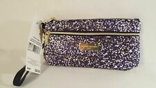 Adrienne Vittadini multi color Two Zip Pocket pink Wristlet logo Wallet New