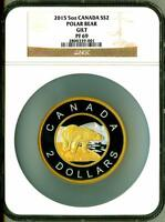 2015 S$2 Canada 5 oz Silver Gilt Polar Bear NGC PF69 With Mint Box & COA OGP