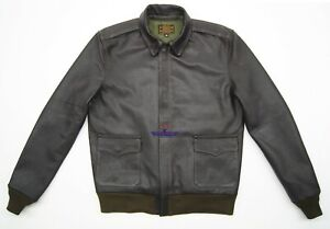 Men Type A2 Bronco Military Flight Jacket Real Goatskin thick leather Seal Brown