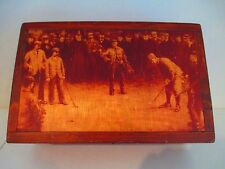 Wooden Box By Two Day Designs? 1920's Golf Scene Humidor? Cabinet? Box? Chest?