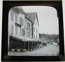 Glass Magic lantern slide FRENCH CAFES AT UNKNOWN HARBOUR C1900 NICE IMAGE