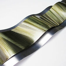 Modern Abstract Metal Wall Sculpture Art Earthtone Green Painting Home Decor New