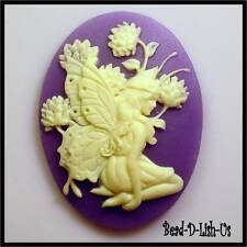 1 x 40x30mm Resin Cameo  Fairy Siting & Flower victorian gothic cabochon DIY