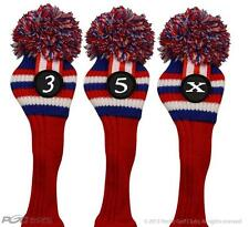 USA 3 5 X Wood Headcover Red White Blue Set Knit Head Covers Headcovers Cover