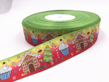 DIY 5 Yard 1''25mm House Christmas tree Grosgrain Ribbon Hair Bow Sewing Ribbon