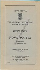 Nova Scotia Mineral Province Of Eastern Canada Geology Of Nova Scotia 1950/+Map