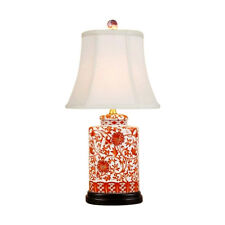Beautiful Chinese Orange And White Porcelain Tea Jar Lamp Lotus Pattern w Shade