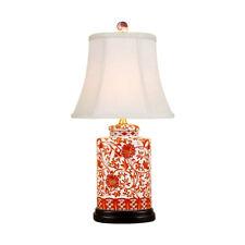 Beautiful Chinese Orange And White Porcelain Tea Jar Lamp Lotus Pattern w Shade