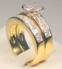 2.95 Ct Princess cut Solitaire Engagement Ring Set Yellow Gold ov Sz 8