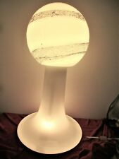 "Milk Glass Lamp Vintage 30"" White Glass Ball Table Lamp Modern Mid Century Gold"