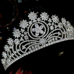Cubic Zirconia Crown Bridal Headdress Princess Crown Wedding Hair Ladies Jewelry