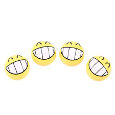 4Pcs Car Motor SUV Ball Wheel Tyre Valve Stems Air Caps Cover Yellow Smile Face