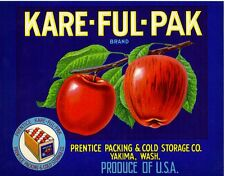 Original Kare-Ful-Pak half box apple crate label - Yakima, Washington Prentice