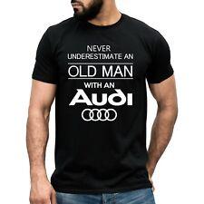 Funny Audi Old Man T-shirt Dad Grandad Quattro tt Car Gift Top Men's Cotton Tee