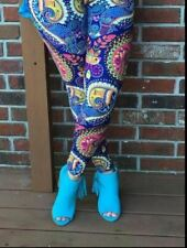 PLUS SIZE BLUE PAISLEY BUTTERY SOFT LEGGINGS Fits Size 12-20 NWT
