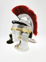 Elmo de Centurión Romano Imperial Del Ejército de Acero con Plumas
