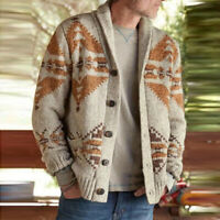 Men's Knitted Thick Single Breasted Cable Knitwear Cardigan Winter Sweater Tops