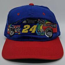 vtg CHASE Jeff Gordon 24 DuPont NASCAR Racing Embroidered Hat Snapback Cap Blue