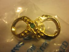 Harriet Carter Lapel Pin Genuine Emerald 24K Gold Electroplated Infinity Symbol