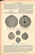 Bractéates monnaie médaille en or de Norvège Danemark & Suède GRAVURE 1877