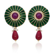 Ruby Ropara and Semi Precious stone and cz 14k Gold Plated Dangle Earrings